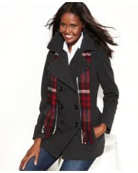 London Fog | Doublebreasted Pea Coat Plaid Scarf | Lyst