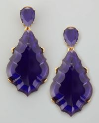 Oscar de la Renta Resin Chandelier Clipon Earrings Dark Purple - Lyst