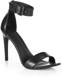 Tibi Amber Leather Ankle Strap Sandals - Lyst