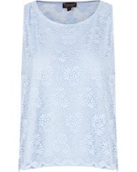 Topshop Lace Shell Top - Lyst