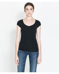 Zara Vneck Tshirt - Lyst