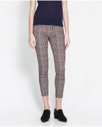 Zara Checked Trousers - Lyst