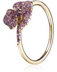 AS29 - Amethyst Mini Pave Flower Ring - Lyst