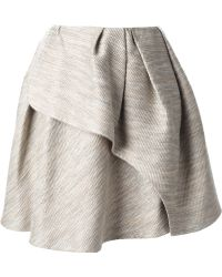 Carven Pleated Tweed Wrap Skirt - Lyst