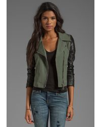 Doma Gabardine Lamb Leather Jacket in Green - Lyst