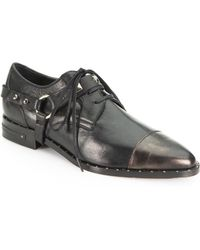 Frēda Salvador | Wonder Leather Studded Harness Laceup Loafers | Lyst