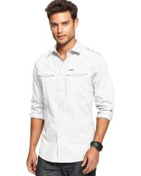 Marc Ecko Long Sleeve Solid Military Shirt - Lyst