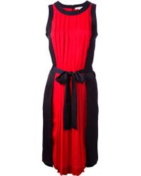 MICHAEL Michael Kors Sleeveless Pleated Dress - Lyst