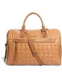 River Island - Tan Stud and Quilt Weekend Bag - Lyst