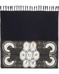Swash London - Boutonnière Printed Silk and Wool-blend Scarf - Lyst