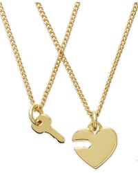 Juicy Couture - Goldtone Heart and Key Charm Pendant Necklaces - Lyst