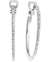 Lauren by Ralph Lauren - Silver-Tone Pave Crystal Medium Hoop Clip-On Earrings - Lyst
