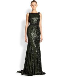 Badgley Mischka Sequined Gown - Lyst