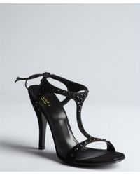 Gucci Black Crystal Embellished Suede T-strap Tie Back Sandals - Lyst
