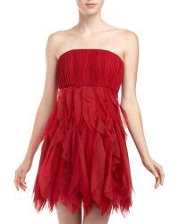 Alice + Olivia Kahlo Gatheredbodice Flutterskirt Strepless Dress - Lyst