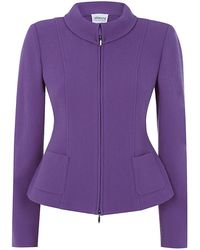 Armani Fitted Woolcrepe Jacket - Lyst