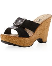 Dezario - Flip Cork Wedge Slipon Sandal Black - Lyst