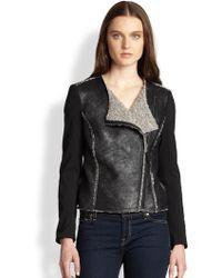 Ella Moss - Riley Knitsleeved Coated Shearlingeffect Jacket - Lyst