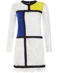 Huishan Zhang Mondrian Lace Mini Dress - Lyst