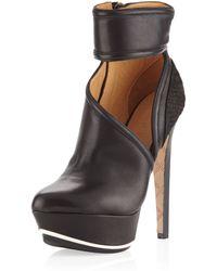 L.A.M.B. Dotty Sidecutout Ankle Boot Black - Lyst