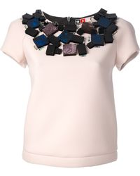 MSGM Embellished Neoprene Top pink - Lyst