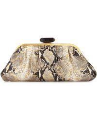 Overture Judith Leiber - Devin Lucara Metallic Clutch Bag Gold - Lyst