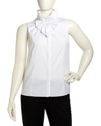 Studio 148 By Lafayette 148 New York - Clarissa Ruffledcollar Bow Blouse White Womens - Lyst