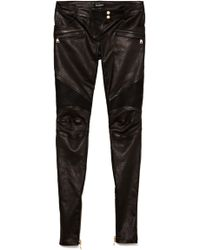 Balmain Leather Skinny Trousers - Lyst