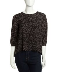French connection Flowy Animalprint Crepe Top - Lyst