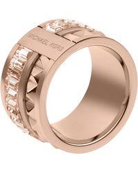 Michael Kors - Pyramid Baguette Ring Rose Golden - Lyst