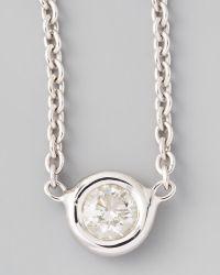 Roberto Coin 18k White Gold Single Diamond Necklace - Lyst
