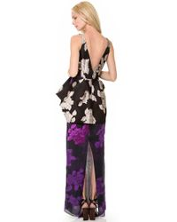 Vera Wang Collection - Sleeveless Rose Jacquard Gown - Lyst