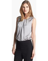 Jones New York | Collection Abby Dotted Pleat Neck Blouse | Lyst