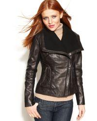 Michael Kors Leather Knit-trim Motorcycle Jacket - Lyst