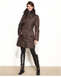 Michael Kors Hooded Faux  Fur  Collar Quilted Puffer - Lyst
