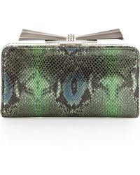 Overture Judith Leiber - Carrie Snake Embossed Leather Clutch Bag  - Lyst