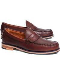 Brooks Brothers Tumbled Leather Popped Midsole Penny Loafers brown - Lyst