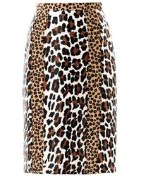 Burberry Prorsum Animal-Print Calfhair Pencil Skirt animal - Lyst