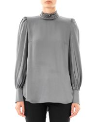 Giles Spike Collar Satin Blouse - Lyst