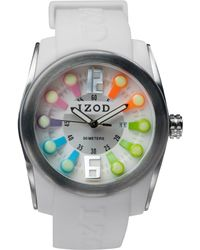 Izod - Izod Watch Unisex Sport White Rubber Strap 48mm Izs19rainbow - Lyst