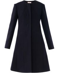 Marni Collarless Washed Wool Coat - Lyst
