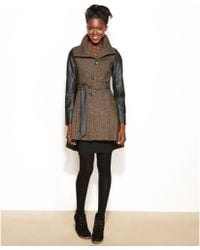 Steve Madden - Faux leather sleeve Belted Tweed - Lyst