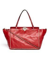 Valentino 'Rockstud' Medium Leather Tote - Lyst