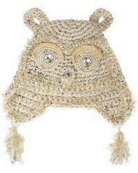Anna Sui - Embellished Crochetknit Owl Hat - Lyst