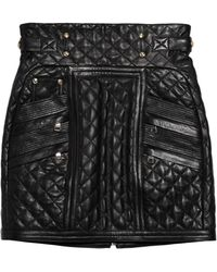 Balmain Quilted Leather Mini Skirt - Lyst