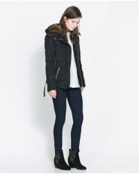 Zara Short Quilted Jacket with Hood - Lyst