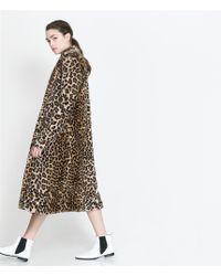 Zara Leopard Fur Coat - Lyst