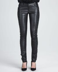 Alice + Olivia Embroideredpanel Leather Pants Alice Olivia - Lyst