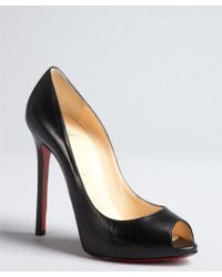 Christian Louboutin Black Leather Peeptoe Pumps - Lyst