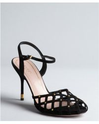 Gucci Black Suede Caged Peep-Toe Ankle Strap Sandals - Lyst